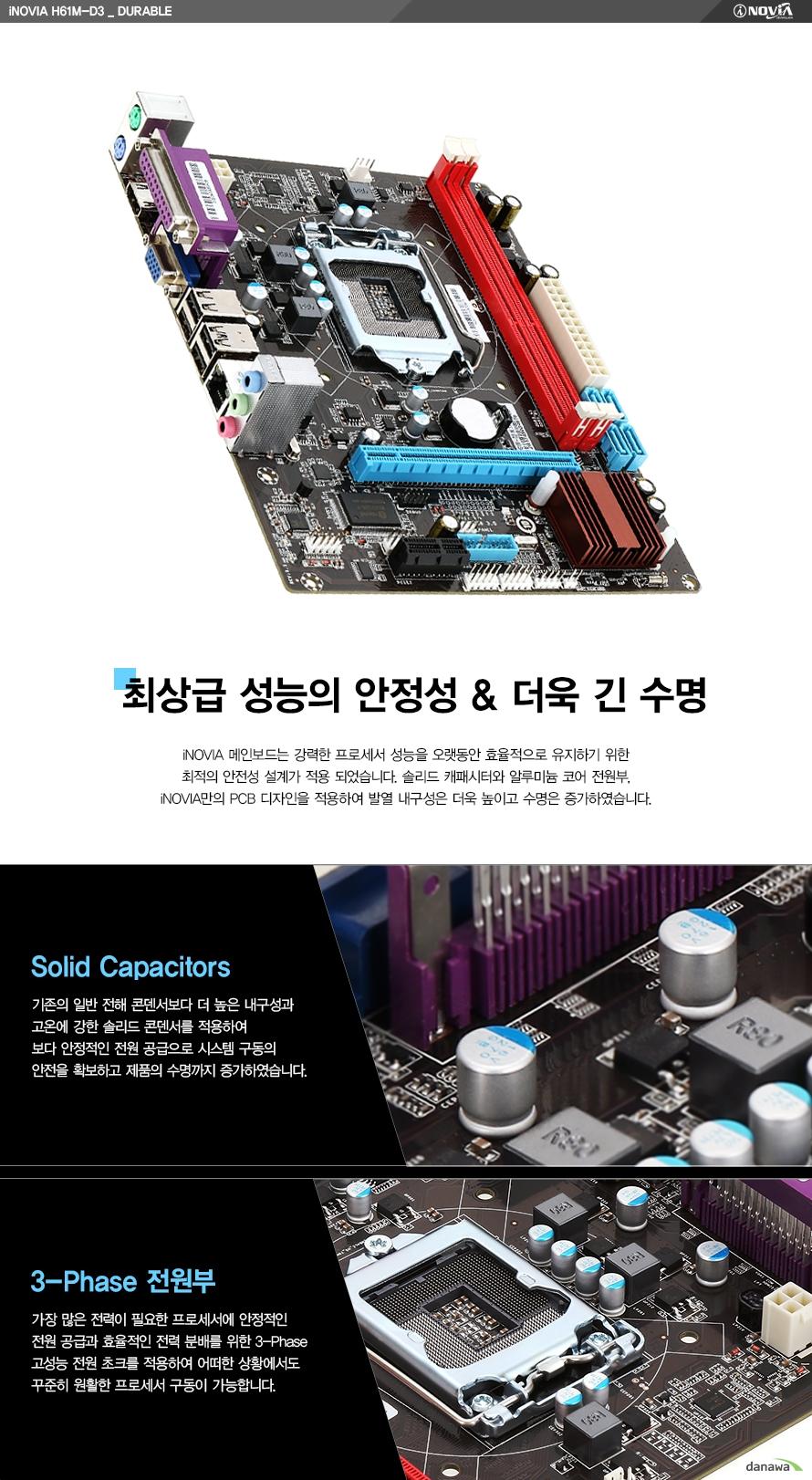아이노비아 H61M-D3_듀러블최상급 성능의 안정성, 더욱 긴 수명아이노비아 메인보드는 강력한 프로세서 성능을 오랫동안 효율적으로 유지하기 위한 최적의 안전성 설계가 적용 되었습니다. 솔리드 캐패시터와 알루미늄 코어 전원부, 아이노비아만의 PCB 디자인을 적용하여 발열 내구성은 더욱 높이고 수명은 증가하였습니다.솔리드 캐패시터기존의 일반 전해 콘덴서보다 더 높은 내구성과 고온에 강한 솔리드 콘덴서를 적용하여 보다 안정적인 전원 공급으로 시스템 구동의 안전을 확보하고 제품의 수명까지 증가하였습니다.3 페이즈 전원부가장 많은 전력이 필요한 프로세서에 안정적인 전원 공급과 효율적인 전력 분배를 위한 3 페이즈 고성능 전원 초크를 적용하여 어떠한 상황에서도 꾸준히 원활한 프로세서 구동이 가능합니다.