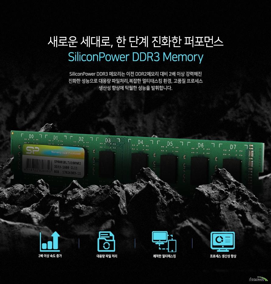 새로운 세대로 한 단계 진화한 퍼포먼스        실리콘파워 DDR3 메모리                실리콘파워 DDR3 메모리는 이전 DDR2메모리 대비 2배 이상 강력해진        진화한 성능으로 대용량 파일처리 복잡한 멀티태스킹 환경 그리고        고품질 프로세스 생산성 향상에 탁월한 성능을 발휘합니다.