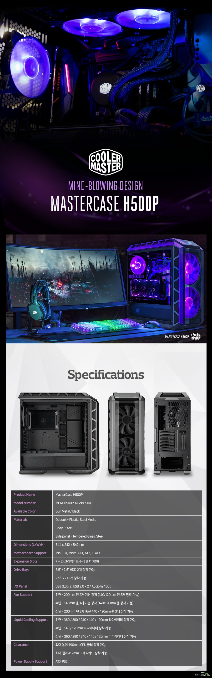 "Product Name	MasterCase H500PModel Number	MCM-H500P-MGNN-S00Available Color	Gun Metal / BlackMaterials	Outlook - Plastic, Steel Mesh, 	Body - Steel	Side panel - Dimensions (LxWxH)	544 x 242 x 542mmMotherboard Support	Mini-ITX, Micro-ATX, ATX, E-ATXExpansion Slots	7 + 2 (그래픽카드 수직 설치 지원)Drive Bays	5.25"" 1개 설치 가능 (ODD 설치 시 전면 200mm 팬 설치 불가능)	3.5인치 / 2.5인치 HDD 2개 장착 가능	2.5인치 SSD 2개 장착 가능I/O Panel	USB 3.0 x 2, USB 2.0 x 2 / Audio In / OutFan Support	전면 - 200mm 팬 2개 기본 장착 (140/120mm 팬 3개 장착 가능)	후면 - 140mm 팬 1개 기본 장착 (140/120mm 팬 장착 가능)	상단 - 200mm 팬 2개 혹은 140 / 120mm 팬 3개 장착 가능 Liquid Cooling Support	전면 - 360 / 280 / 240 / 140 / 120mm 라디에이터 장착 가능	후면 - 140 / 120mm 라디에이터 장착 가능	상단 - 360 / 280 / 240 / 140 / 120mm 라디에이터 장착 가능Clearance	최대 높이 190mm CPU 쿨러 장착 가능	최대 길이 412mm 그래픽카드 장착 가능Power Supply Support	ATX PS2"