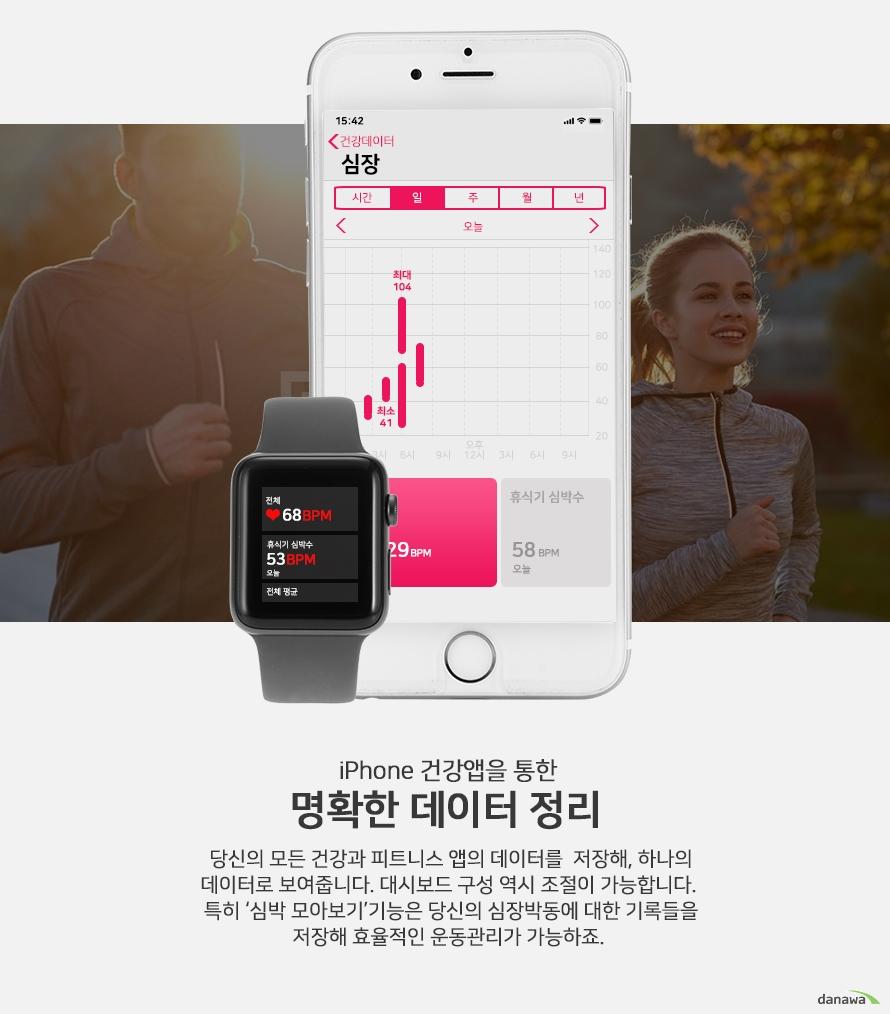 iPhone 건강앱을 통한 명확한 데이터 정리  당신의 모든 건강과 피트니스 앱의 데이터를 저장해, 하나의  데이터로 보여줍니다. 대시보드 구성 역시 조절이 가능합니다.  특히'심박 모아보기'기능은 당신의 심장박동에 대한 기록들을  저장해 효율적인 운동관리가 가능하죠.