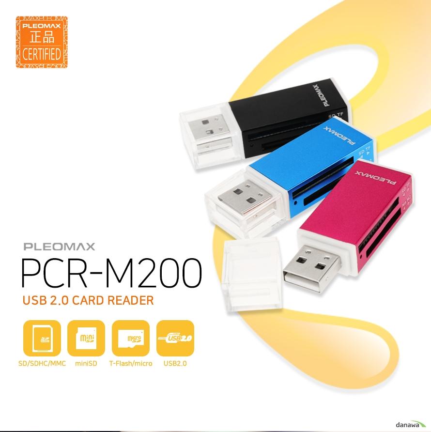 PLEOMAX    PCR-M200    USB 2.0 CARD READER    SD/SDHC/MMC, miniSD, T-Flash/nicro, USB2.0