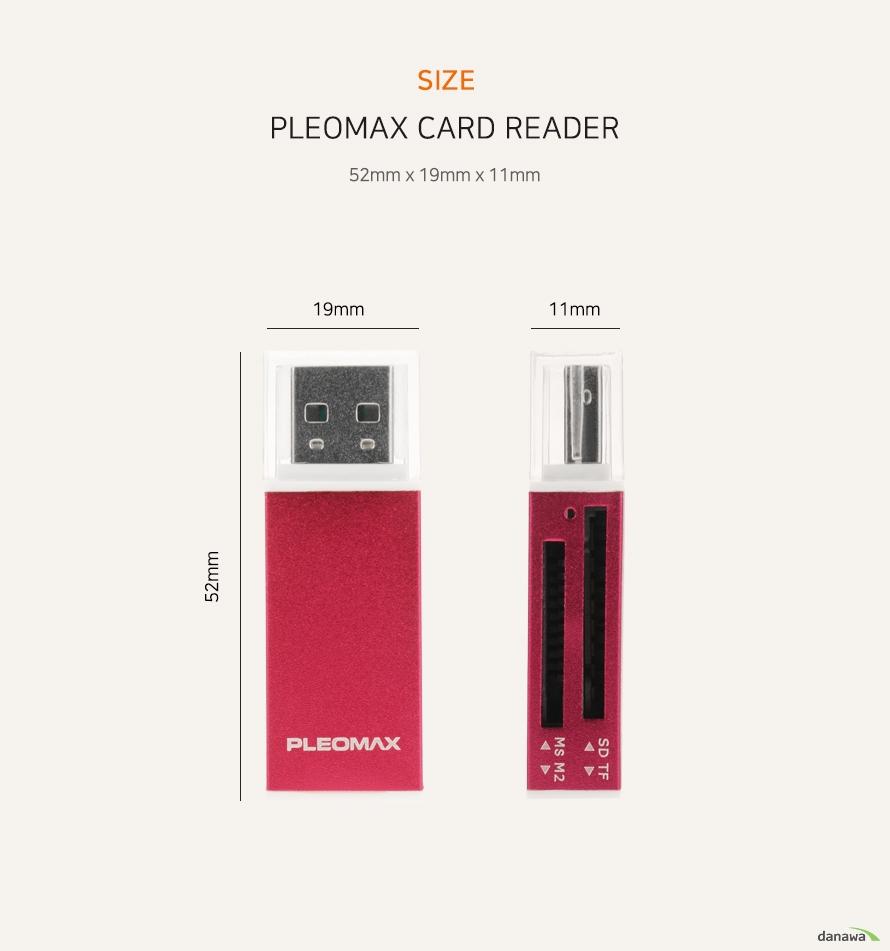 SIZE   PLEOMAX CARD READER   52mm x 9mm x 11mm