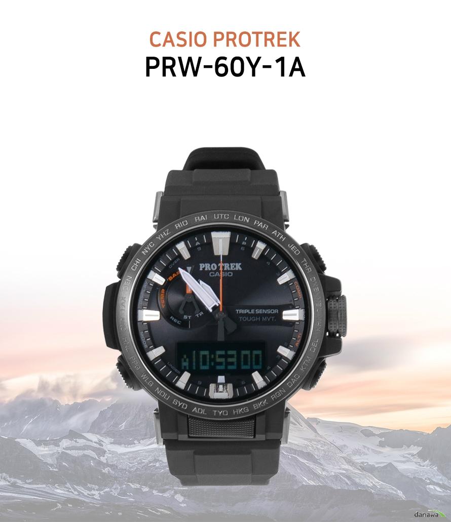카시오 지샥 카시오 PROTREK PRW-60Y-1A 제품명 카시오 PROTREK PRW-60Y-1A 제조회사 카시오 성별 남성용 기압방수 10ATM(10기압) 기능 월드타임,전파수신 밴드 종류 실리콘 작동방식 아날로그 + 디지털(전자) 무브먼트 솔라