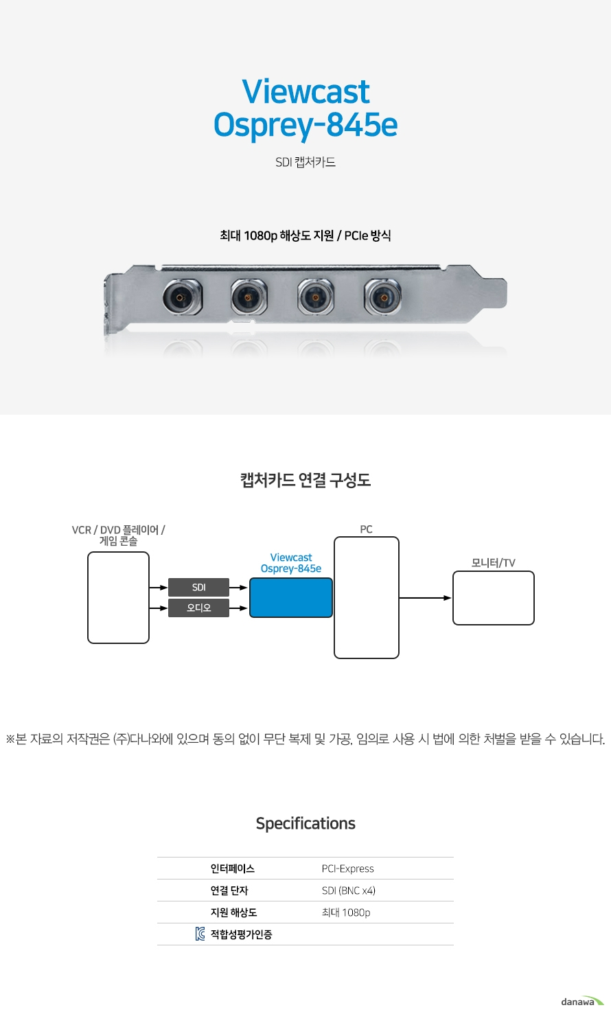 Viewcast Osprey-845e  SDI 캡처카드 최대 1080p 해상도 지원 / PCIe 방식