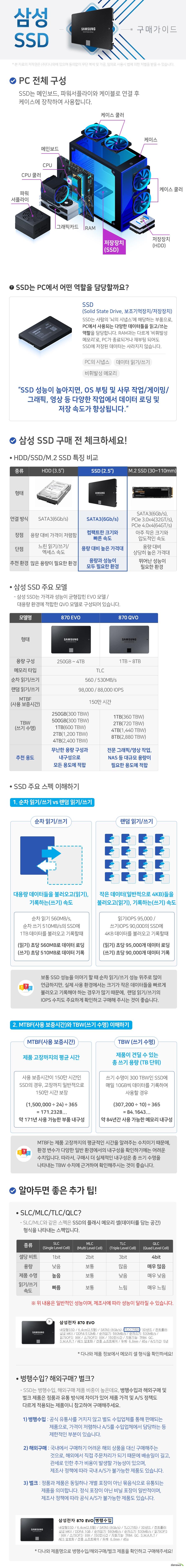 삼성 2.5인치 SSD 구매가이드 SSD는 PC에서 사용되는 다양한 데이터들을 읽고/쓰는 역할을 담당합니다. SSD 성능이 높아지면 OS 부팅 및 사무작업 게이밍 그래픽 영상 등 다양한 작업에서 데이터 로딩 및 저장 속도가 향상됩니다.  2,5인치 SSD 장점 컴팩트한 크기와 빠른 속도 단점 용량 대비 높은 가격대 추천 환경 용량과 성능이 모두 필요한 환경  삼성 SSD 주요 모델 870EVO 870QVO  870EVO는 무난한 용량 구성과 내구성으로 모든 용도에 적합합니다. 870QVO는 전문 그래픽 영상 작업 및 NAS등 대규모 용량이 필요한 용도에 적합합니다.