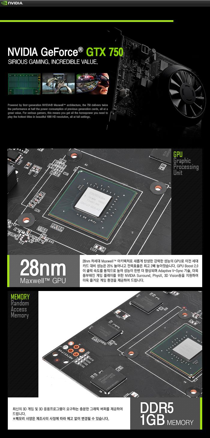 AXLE 지포스 GTX750 V2 D5 1GB 기술정보