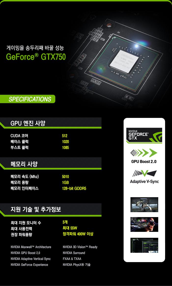 AXLE 지포스 GTX750 V2 D5 1GB 제품 스펙