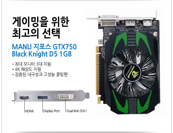 MANLI 지포스 GTX750 Black Knight D5 1GB
