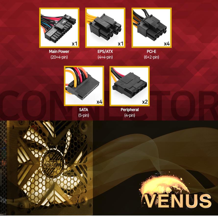 케이블 구성        메인 20 플러스 4핀 커넥터 1개    4 플러스 4핀 EPS ATX 커넥터 1개    6플러스 2핀 PCIE 커넥터 4개    5핀 사타 커넥터 4개    4핀 PERIPHERAL 커넥터2개